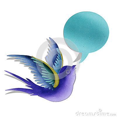 Blue swallow with bubble message.