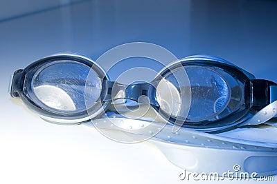 Blue swimming glasses