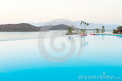 Blue swimming pool on Crete