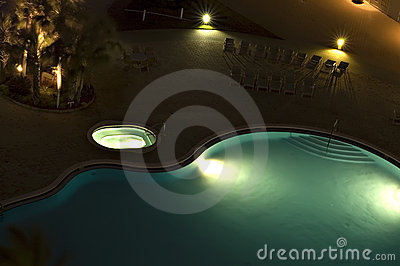 Blue Swimming Pool with Lights