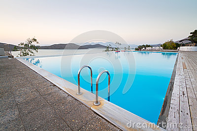 Blue swimming pool at Mirabello Bay of Greece