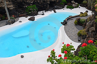 Blue swimming pool in tropical garden