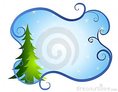 Blue Swirls Christmas Tree Background