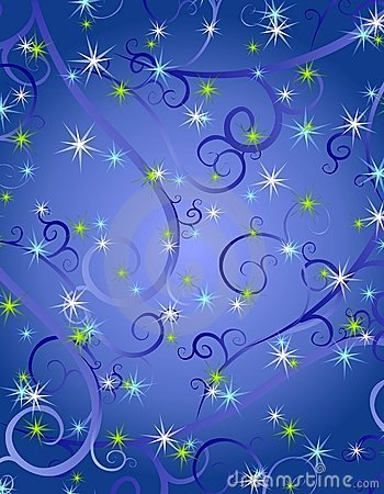 Free Blue Swirls Stars Christmas Background Royalty Free Stock Photos - 3751828