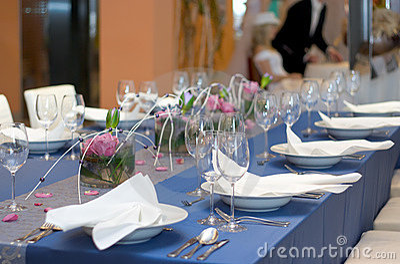 Blue Table Set for Dinner