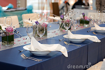 Blue Table Set for Dinner
