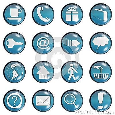 Blue Teal Glass Website Button