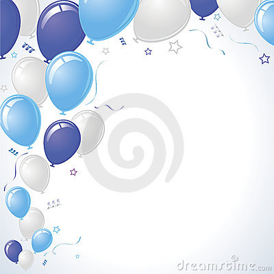 Blue and Teal Party Balloons Rising