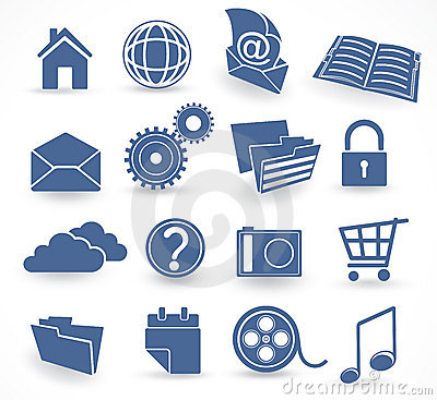 Blue technology icon set