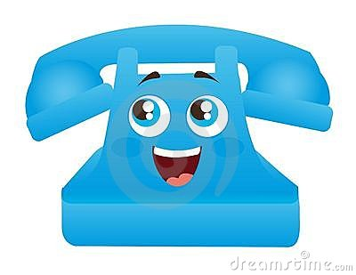Blue telephone cartoon