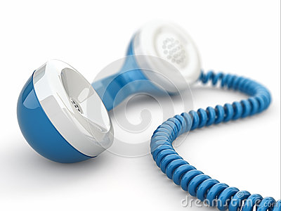 Blue telephone receiver.