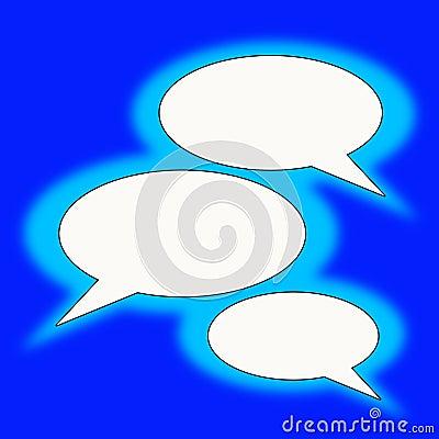 Blue text balloons