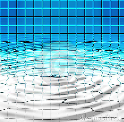 Blue Tiles And Water In Pool