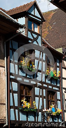 Blue timber frame house in Alsace