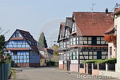 Blue timberframe house