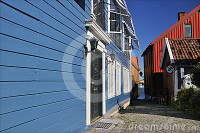 Blue timberhouses in Larvik, Norway
