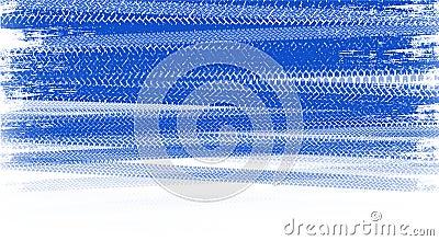 Blue tire tracks Stock Photo
