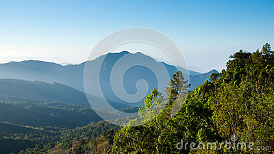 Blue tone Mountain landscape