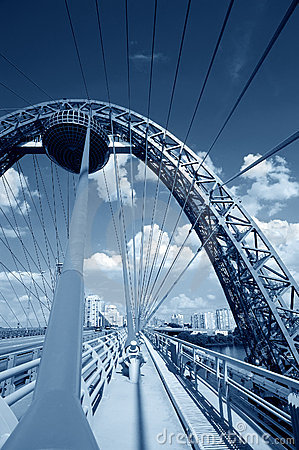 Blue toned cable-stayed bridge