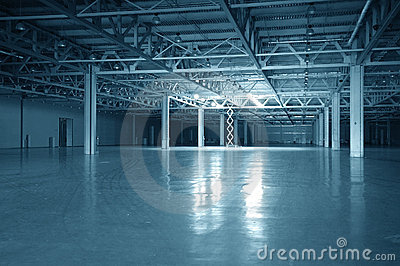 Blue toned empty storehouse