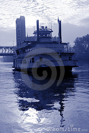 Blue Toned River Boat
