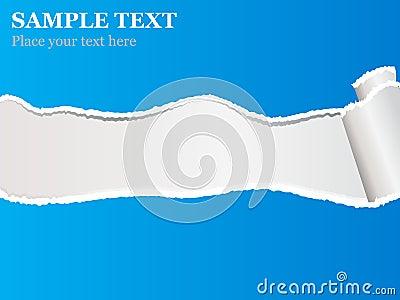 Blue torn paper