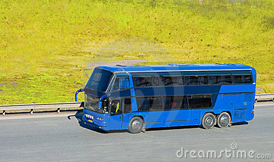 Blue tourist bus