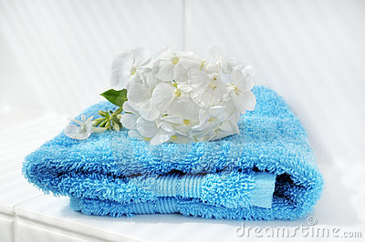 Blue towel and white hydrangea