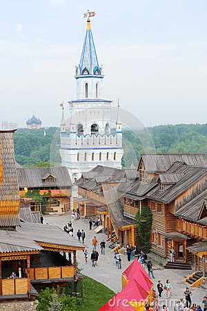 Blue tower in entertainment center Kremlin Editorial Image