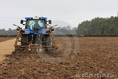 Blue tractor tilling