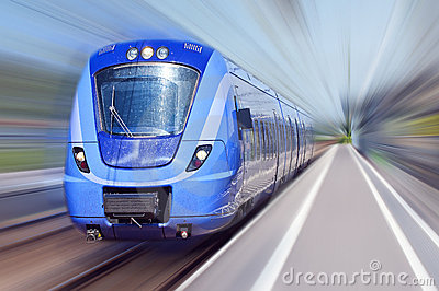 Blue train in motion