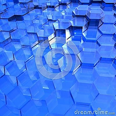 Blue Translucent Hexagons