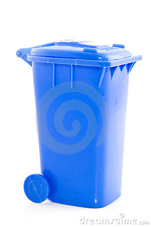 Blue trashcan