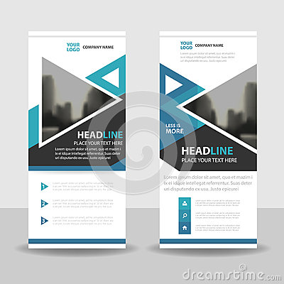 Free Blue Triangle Roll Up Business Brochure Flyer Banner Design , Cover Presentation Abstract Geometric Background, Modern Publication Royalty Free Stock Photo - 76796455