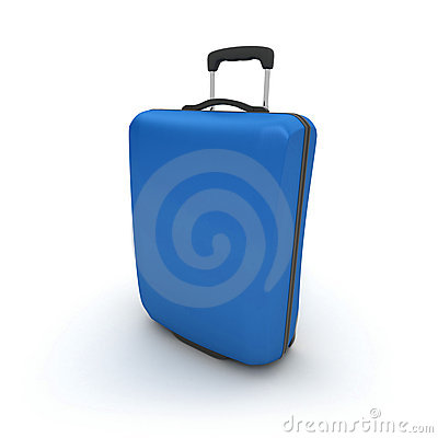 Blue trolley suitcase