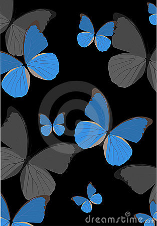 Blue tropical butterfly background