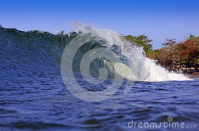 Blue tropical coast surfing wave