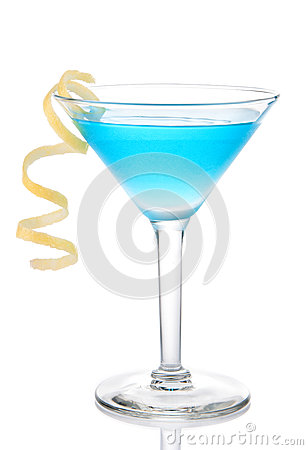Free Blue Tropical Martini Cocktail With Yellow Lemon Spiral Stock Image - 42251051
