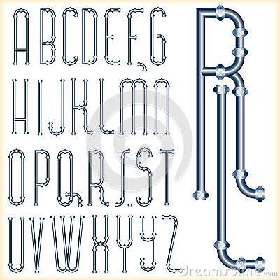 Blue tube font Vector Illustration