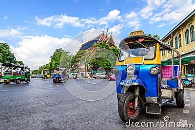 Blue Tuk Tuk, Thai traditional taxi in Bangkok Thailand Stock Photo