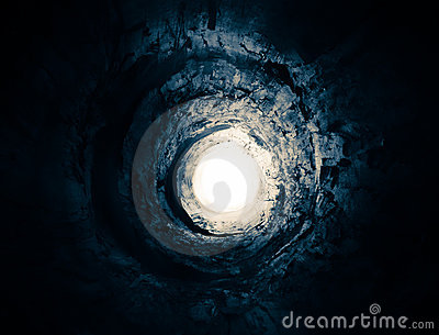 Blue tunnel to the light. Way to another world.