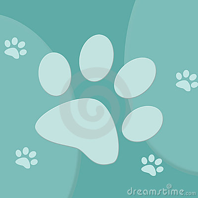 Blue and turquoise paw print background