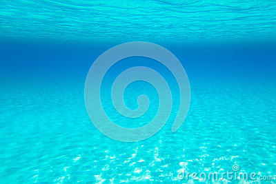 Blue turquoise underwater view of tropical beach
