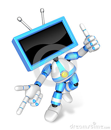 Blue TV character are kindly guidance. Create 3D Television Robot Series.