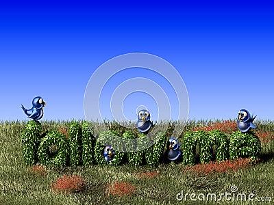 Blue twittering bird standing on a follow me hedge