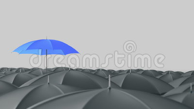 Blue umbrella standing out from crowd mass concept. Blue umbrella open and standing out from crowd mass grey umbrellas, design background text concept, with vector illustration