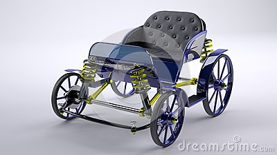 Blue unreal horse carriage