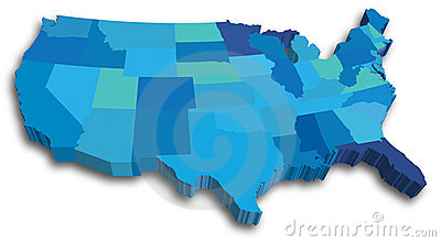 Blue US 3D State map