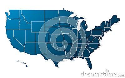 Blue USA Map vector