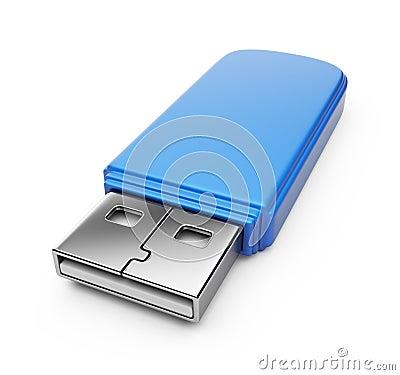 Blue USB flash drive 3d.